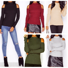 Turtleneck cold shoulder knitted sweater Women fashion casual cotton streetwear pullover Female elegant autumn winter jumper