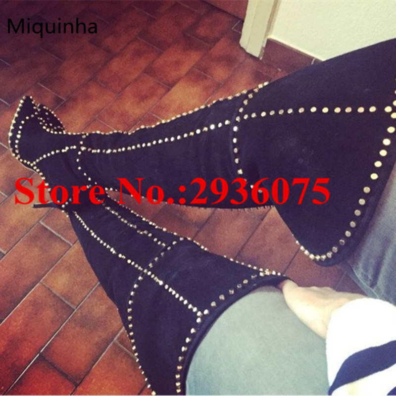 Black Suede Rivets Studded Embellished WOmen Sexy Over The Knee Boots Pointed Toe Back Zip Stiletto High Heels Thigh High Boots new fashion back lace women over the knee boots black suede leather ladies pointy toe thigh boots stiletto boots