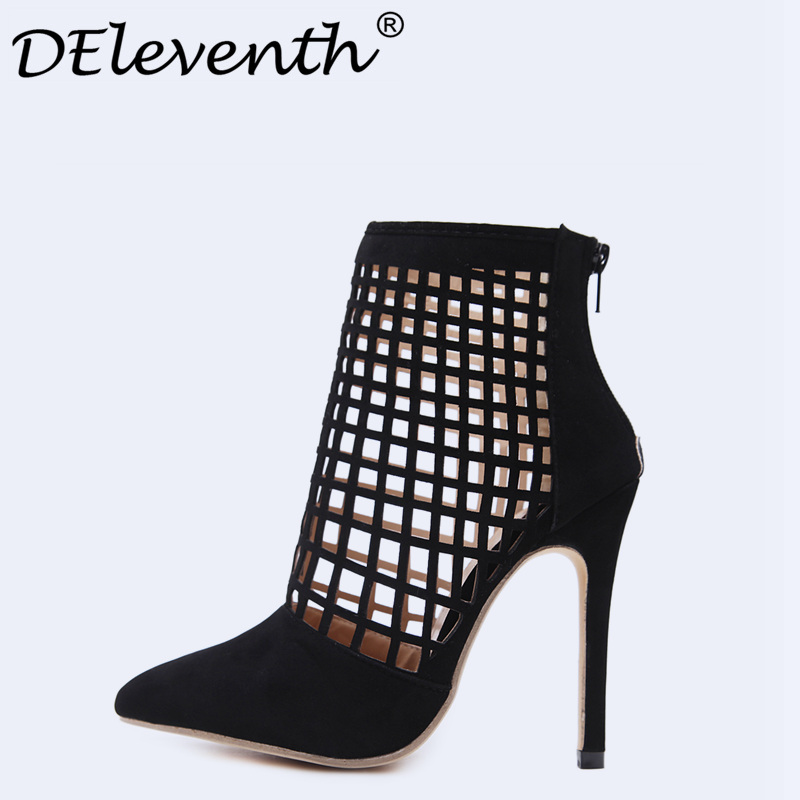 96d80728d4e38 Women Shoes Sandals Gladiator Summer Stiletto High Heels Shoes 2018 Vogue  Cut-outs Zip Pointed Toe Women Sandalias Ladies Shoes