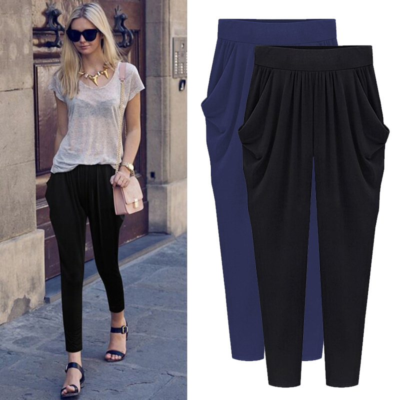 5XL 6XL 7XL 8XL Plus Size 2019 Summer Autumn Woman Trousers Pleated Strechy Elastic Harem Pants Pantalon Femmes Calca Feminina