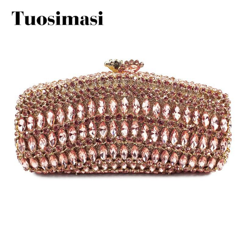 Champagne color bigger crystal rhinestones clutch evening handbag women bags  (8726A-C)