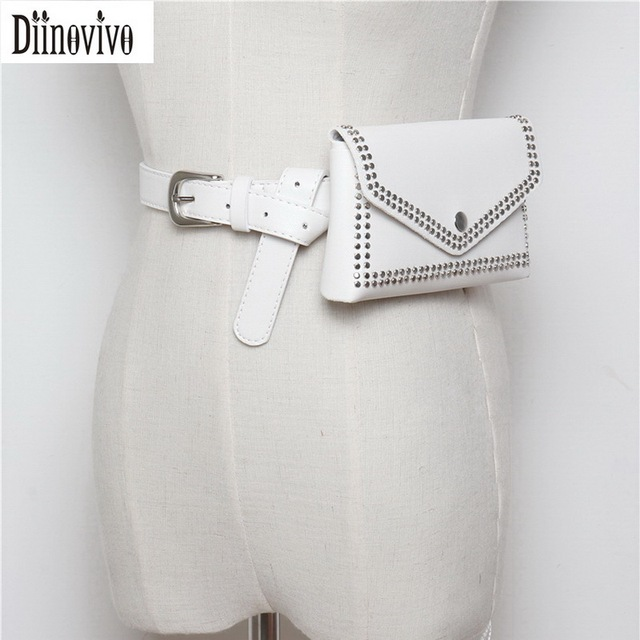 191aeed2de4cc Diinovivo Fashion Vintage Rivet Waist Pack Women Belt Bag Luxury Brand Bags Leather  Waist Bag Small