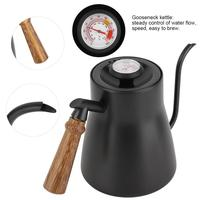 YRP 850ml Stainless Steel Coffee Drip Kettle Gooseneck Pour Over Coffee Tea Pot with Thermometer Wooden Handle Kitchen Teapot