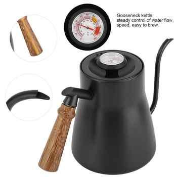 YRP bouilloire à café en acier inoxydable   Tasse à goutte à café col de cygne Pour Over, théière à thé avec thermomètre manche en bois, théière de cuisine de 850ml