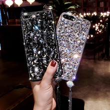 Coque for iPhone 7 8 6 6S Plus Case Shockproof 3D Crystal Glitter Back Cover XR X XS Max Diamond Bling Shell