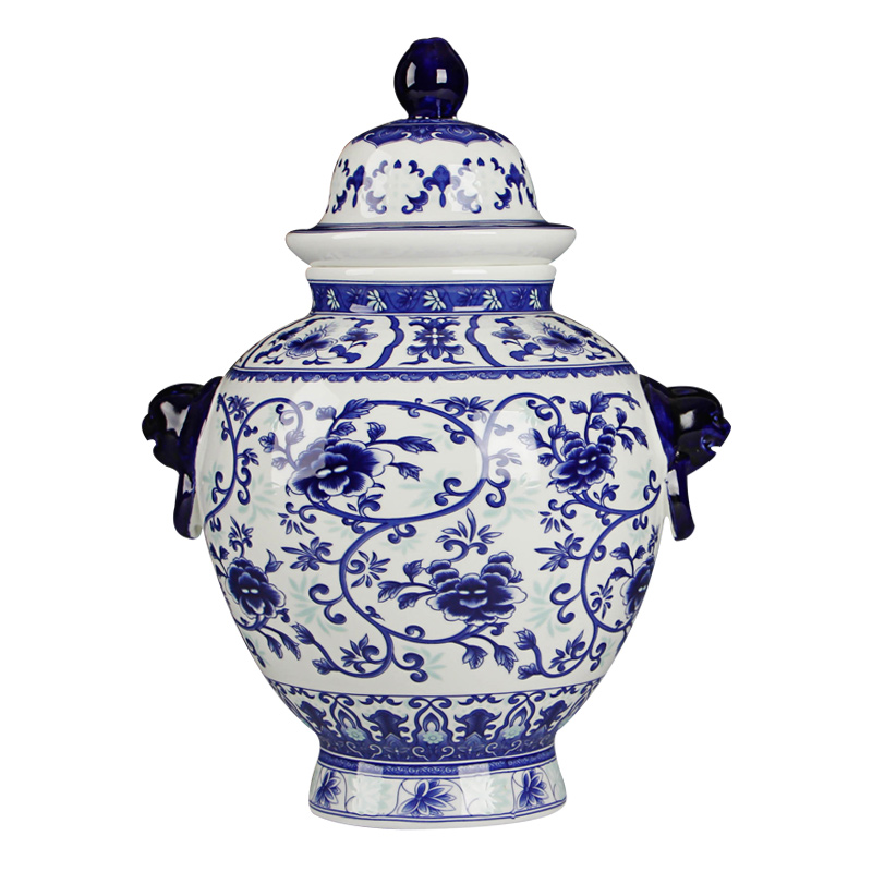 Jingdezhen Blue And White Rice Pattern Decorated Jar