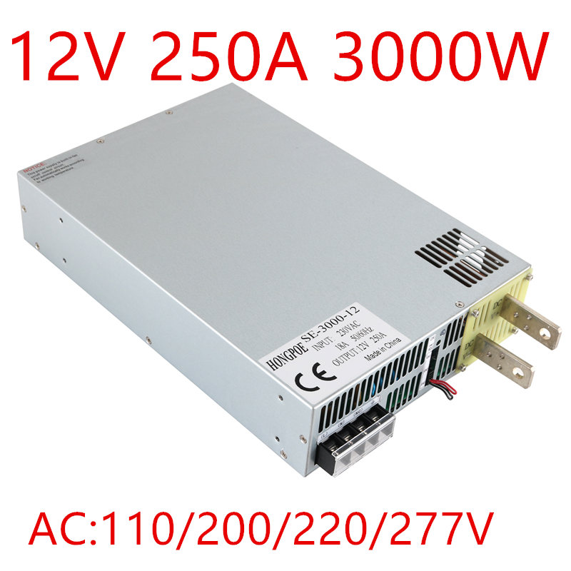 1PCS 3000W 0-12v power supply 12V 250A AC-DC High-Power PSU 0-5V analog signal control DC12V SE-3000-12 ghost se 3000 2013