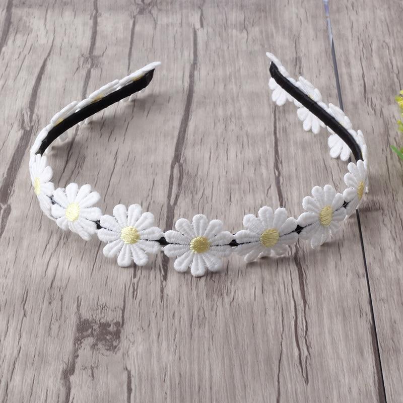 White with Black Polka Dots Daisy Flower Hair Clip Headband Accessory Girls