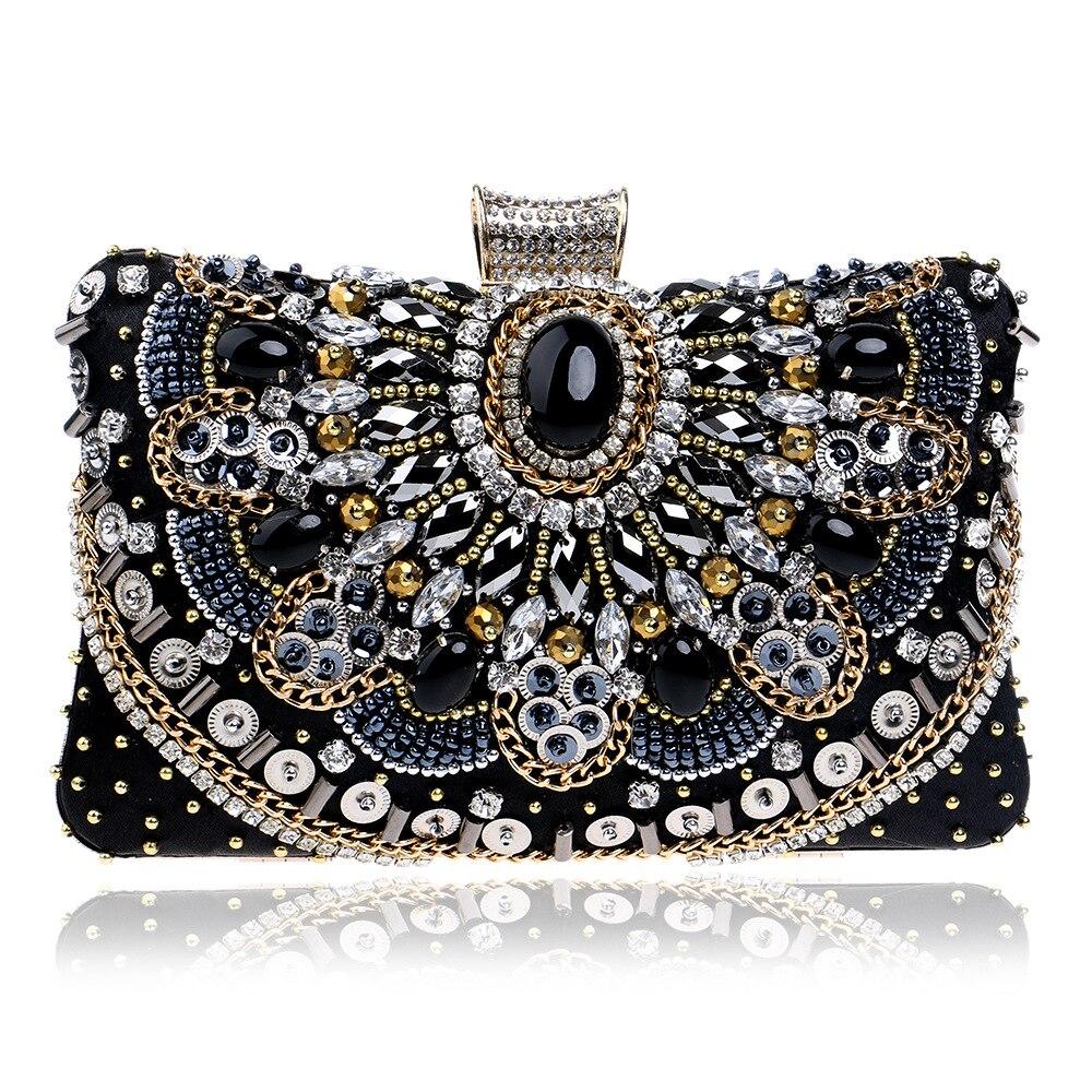 De luxe Perle Broderie de Soirée Sac Diamants Téléphone Sac Sacs À Main et Sacs À Main Perles Lady Robe de Soirée Embrayage Sac