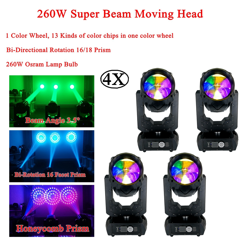 4Pcs/Lot Flightcse 2019 Super Beam 260W LED Lyre Moving Head Light Rotation 16/18 Prism Moving Head Party DJ Stage Light Night