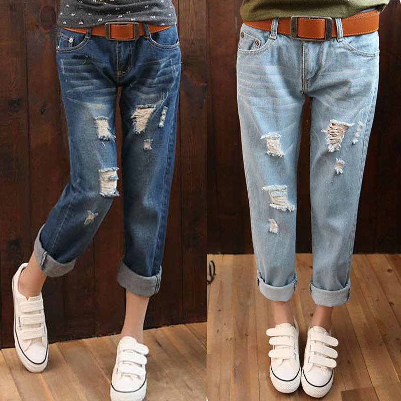 Plus Size Women Jeans Hole Pants Denim Ripped Trousers Stretch Elastic For Women Female Fat Waist Jeans G42 plus size pants the spring new jeans pants suspenders ladies denim trousers elastic braces bib overalls for women dungarees