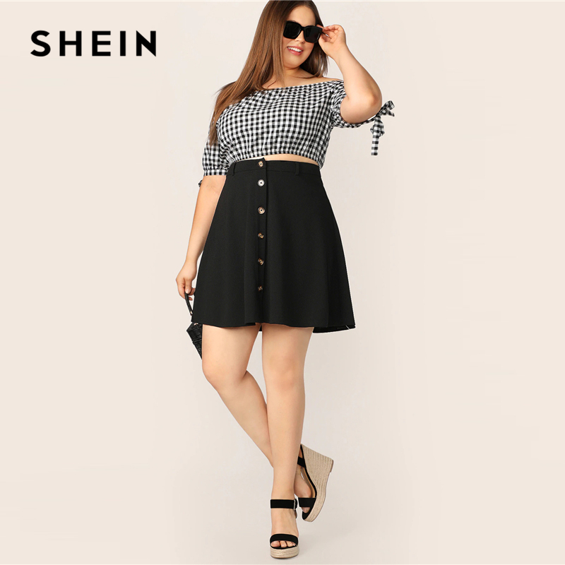 Image 4 - SHEIN Plus Size Black Button Up Flare Skirt 2019 Women Summer Casual A Line Solid Big Size Above Knee Mini Short Skirts-in Skirts from Women's Clothing