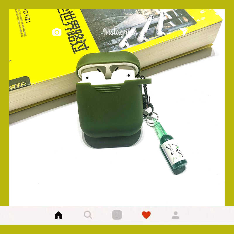 Cute Interesting Korean Shochu Pendant Earphone Cases For Apple Wireless bluetooth headset Airpods Silicone Cover For Air pods 2
