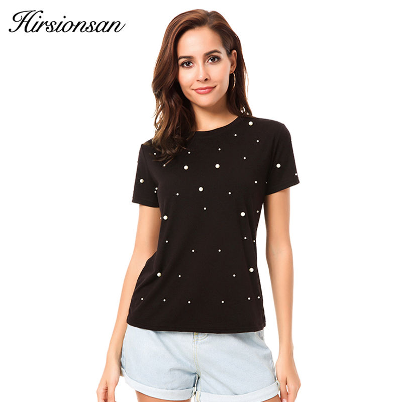 000e53830003c Hirsionsan Summer T Shirt Women Pearls Beading Solid Cotton Casual Black  White Harajuku Tops Short Sleeve O Neck Tee Shirt 2018-in T-Shirts from  Women s ...