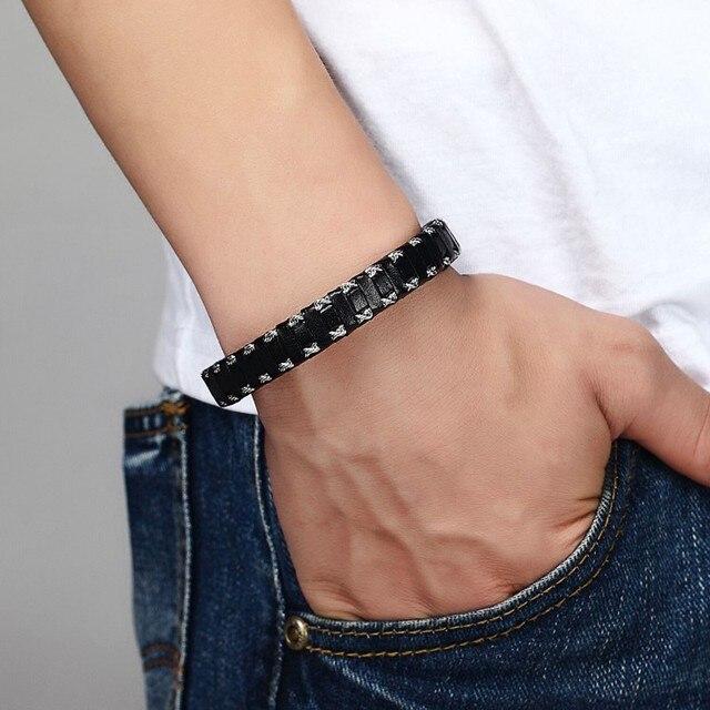 Мужской браслет janeyacy из натуральной кожи черный стальной
