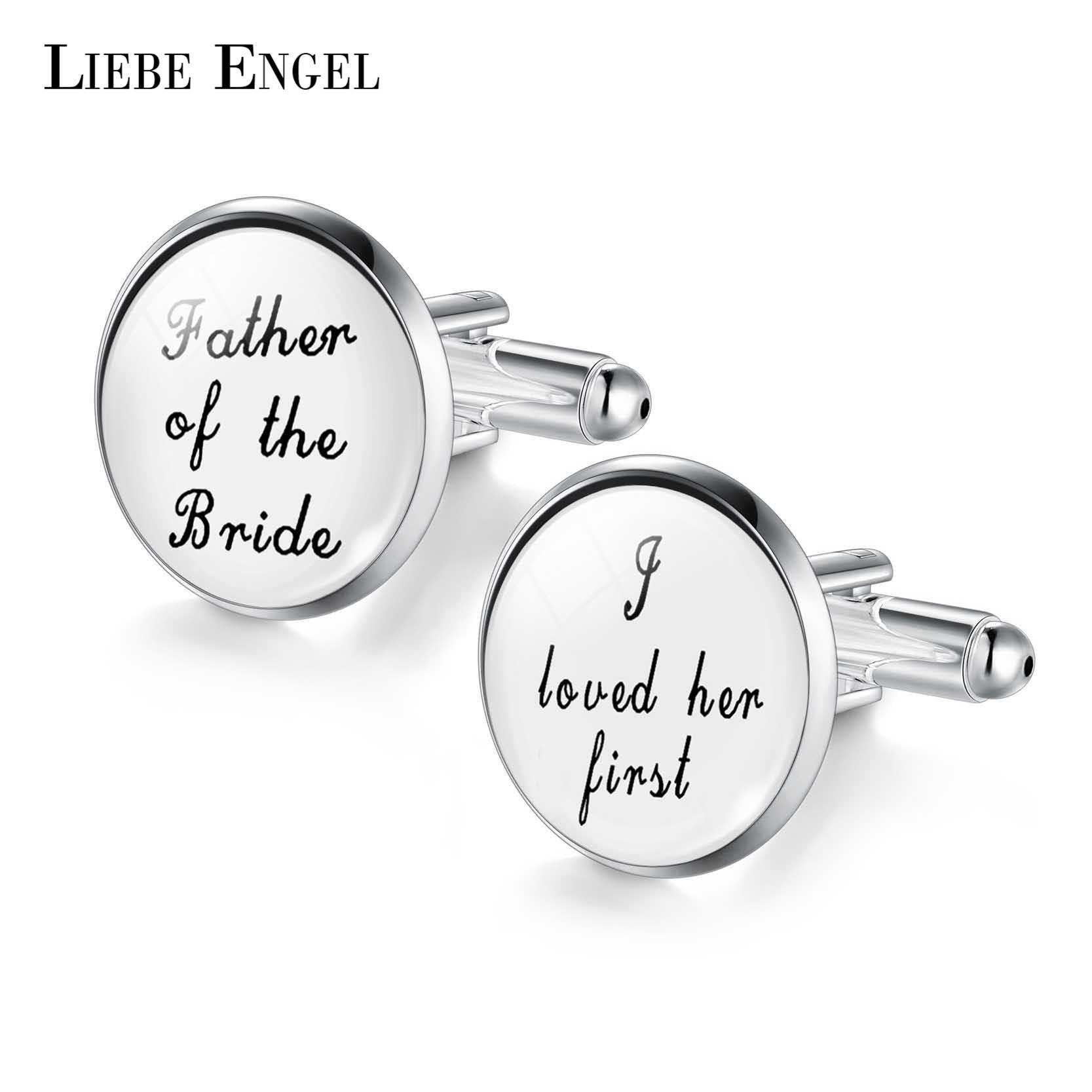 LIEBE ENGEL Wedding Cufflinks Custom White Black Background Men Cufflinks Groomsmen Gift ...