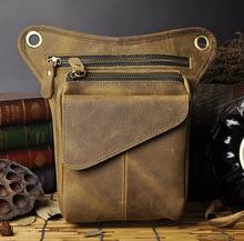2016 New Top Quality Genuine Real Leather men vintage Brown Small Belt Messenger Bag Waist Pack