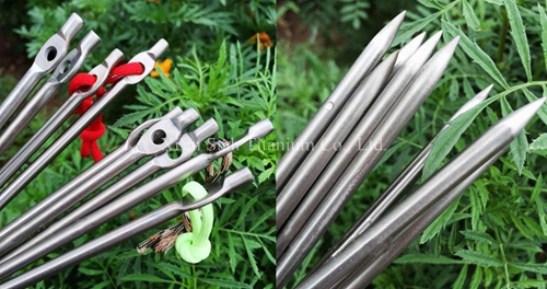 Titanium TC4 Solid Rond Tent Peg / Stake / Camp Pin 165mm Long Strong And Light Weight 14g/pc For Rubble Land