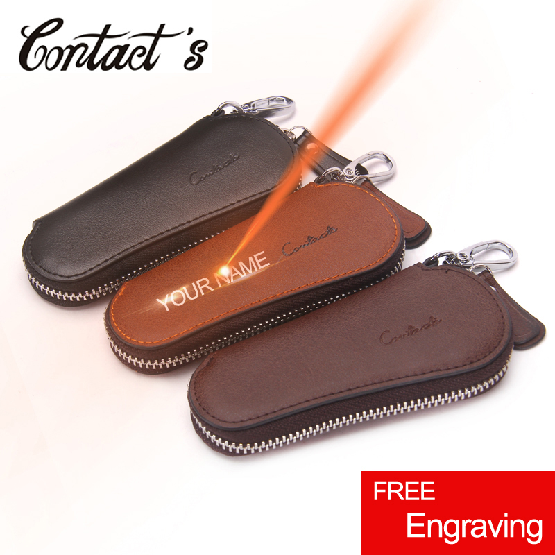 Vintage Key Organizer Real Leather Key Wallet For Men High Quality Car Key Holder Luxury Brand Zipper Around Pillow Housekeeper