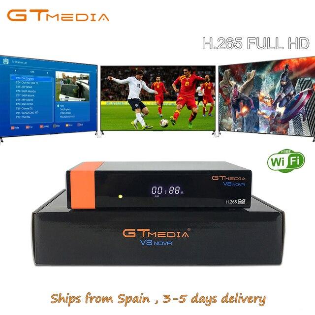 FREESAT V8 Satellite TV Receiver DVB-S2 GTmedia V8 Nova Support 1 Year Europe Clines PowerVu Built in Wifi Dongle Full HD H.265