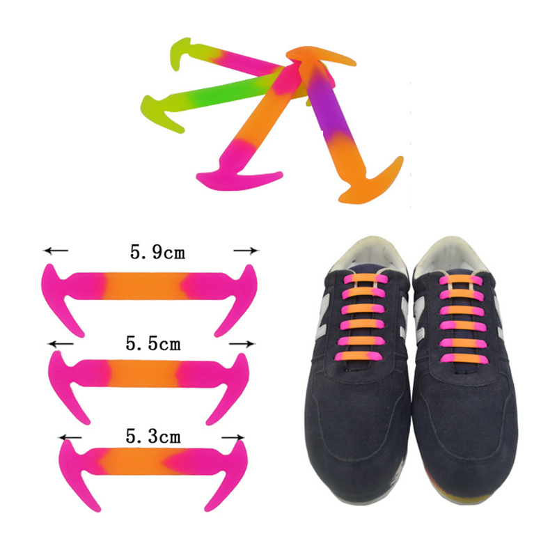 купить 12Pc/Set Fashion Colorful Unisex Women Men Athletic Running No Tie Shoelaces Elastic Silicone Shoe Lace All Sneakers Fit S недорого