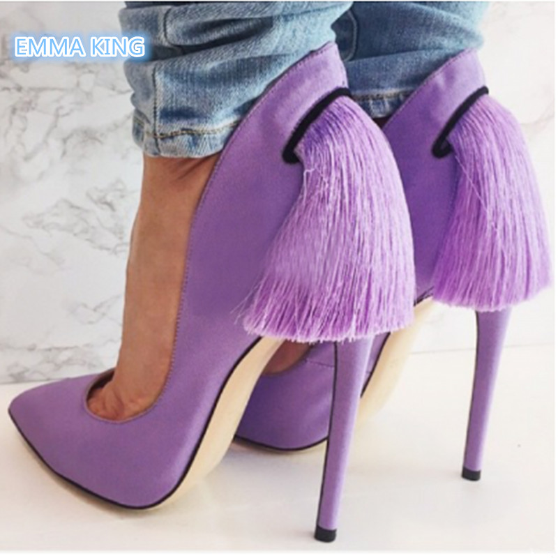 c5cee7b17428 Purple Fringe Stilettos Women Pumps Spring 2019 Pointed Toe Shallow Sexy  Ladies Dress Shoes Slip-On Style Woman High Heels Pumps. Anniversary Sale US  ...