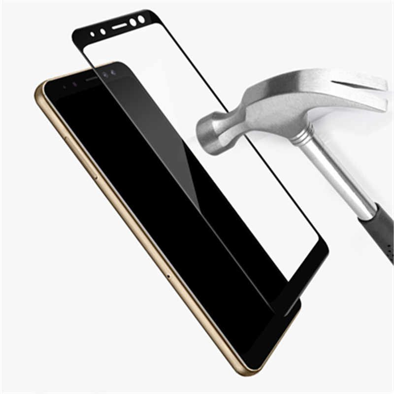 غطاء كامل من الزجاج المقسى لهاتف سامسونج جالاكسي A8 + 2018 A730 A730F A730F/DS Duos plus A8 plus حافظة شاشة واقية باللون الأسود