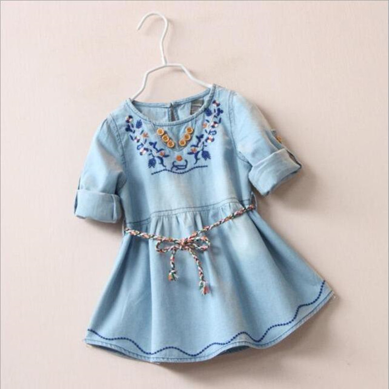 Summer dress Girls dresses summer 2016 Kids clothes Baby girl clothing embroidered collar denim onepiece Roupas infantis menina