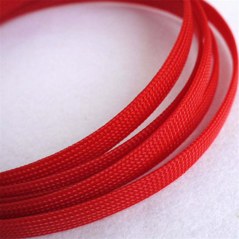 Red High quality 10mm Braided PET Expandable Sleeving High Density Sheathing Plaited Cable Sleeves asi 66