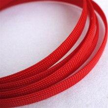 Rojo-Alta calidad 10mm Trenzado PET Funda Extensible Cable Trenzado Mangas de Alta Densidad Revestimiento asi 66
