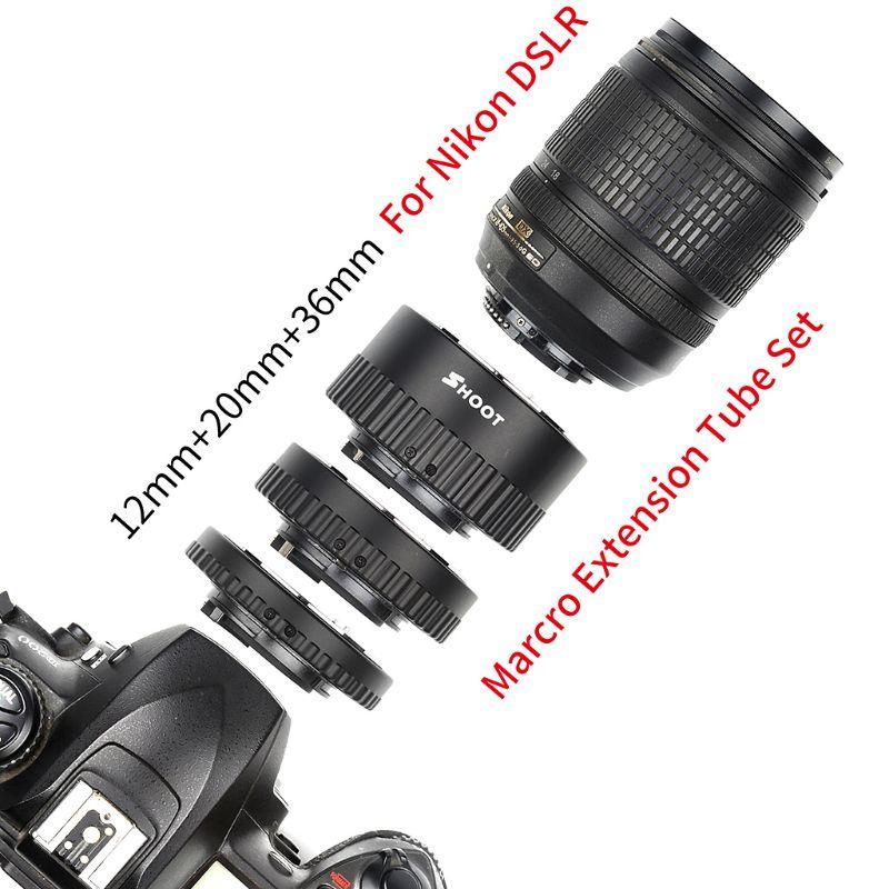 12MM 20MM 36MM Auto Focus Macro Extension Tube adaptateur bague pour Nikon DSLR caméras D7100 D7000 D5500 D5300 D5200 D5100 D5000