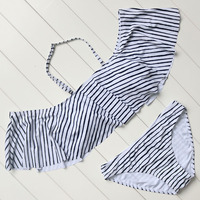 Ruffled Bikini Hot Striped Bikini Set Strapless Swimwear Push Up Padded Beachwear Swimsuit Women Bathing Suit
