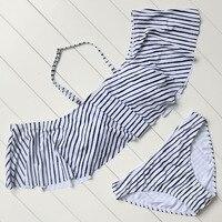 Ruffled Bikini Hot Striped Bikini Set Strapless Swimwear Push Up Padded Beachwear Swimsuit Women Bathing Suit