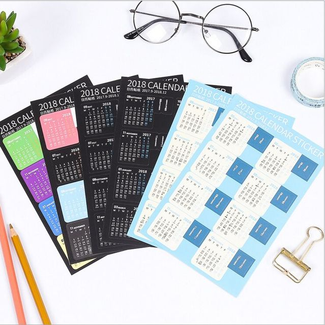 Diy Rainbow Calendar : Pcs pack year rainbow mini calendar index stickers