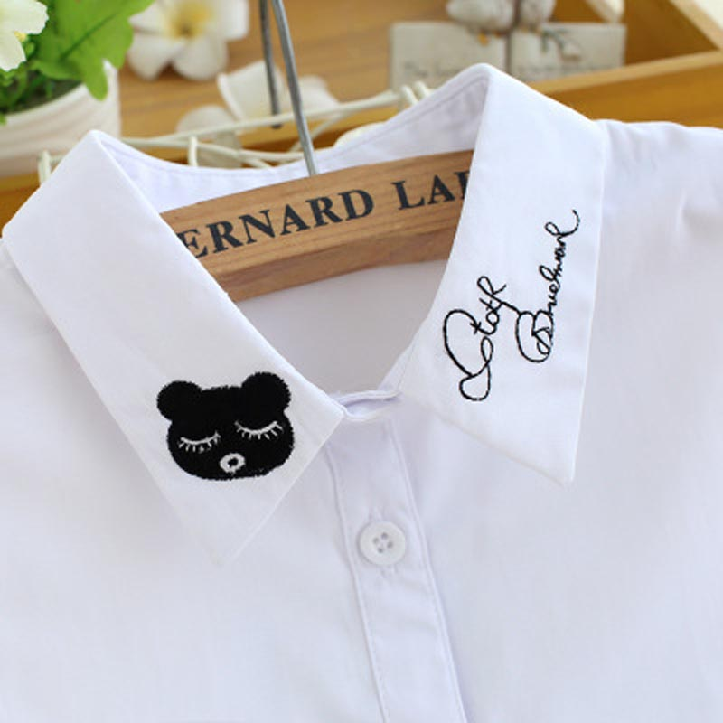 Kids Fake Collar Girls Children Embroid Bear Detachable Collars Kraagie Cotton Faux Shirt Child Kraagie Nep False Collar