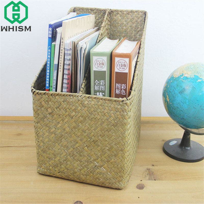 WHISM Handmade Seagrass Woven Storage Baskets Office Book Organizer Rattan Artificial Flower Pot Desktop Wicker Makeup Holder
