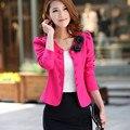Мода Корейский Блейзер Feminino Весте Femme Двубортный Кнопка Костюм Женщины Пиджаки и Жакеты 2016 Розовый Bleiser Mujer Пальто