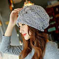 New Winter Lace Hat for Women Lady Hats 2016 Plain Beanies Knitted Neck Warmer Cap Fashion Hats for Chemo 57 Cm To 60 Cm L11