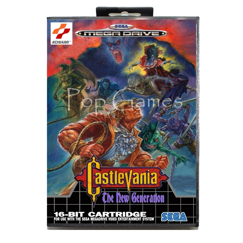 Castlevania the New Generation with Box for 16 bit Sega MD Game Card for Mega Drive for Genesis Video Console