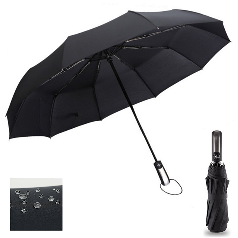Wind Resistant Three Folding Automatic Umbrella Rain Women Auto Luxury Big Windproof Umbrellas Men Frame Windproof 10K Parasol(China)