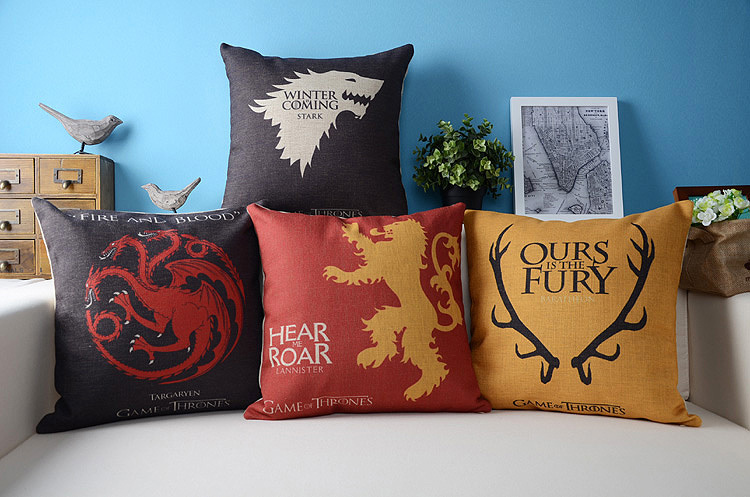 Ice fire game of thrones dragon pillow cushion linen for Game of thrones garden ornaments