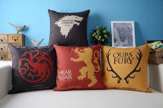 Ice Fire Game of Thrones Dragon Pillow cushion Linen pillowcase Office Home decorative Pillows sofa cushion