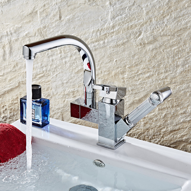 Смесители для кухни хром латунь Gun Тип поворотный Ванная комната кран вытащить опрыскиватель сосуд Раковина Смеситель горячей и холодной в