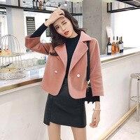 autumn warm Woolen Coats For Women Imitation mink fluff Slim Outerwear Long Sleeve Turn down Collar Overcoat jacket