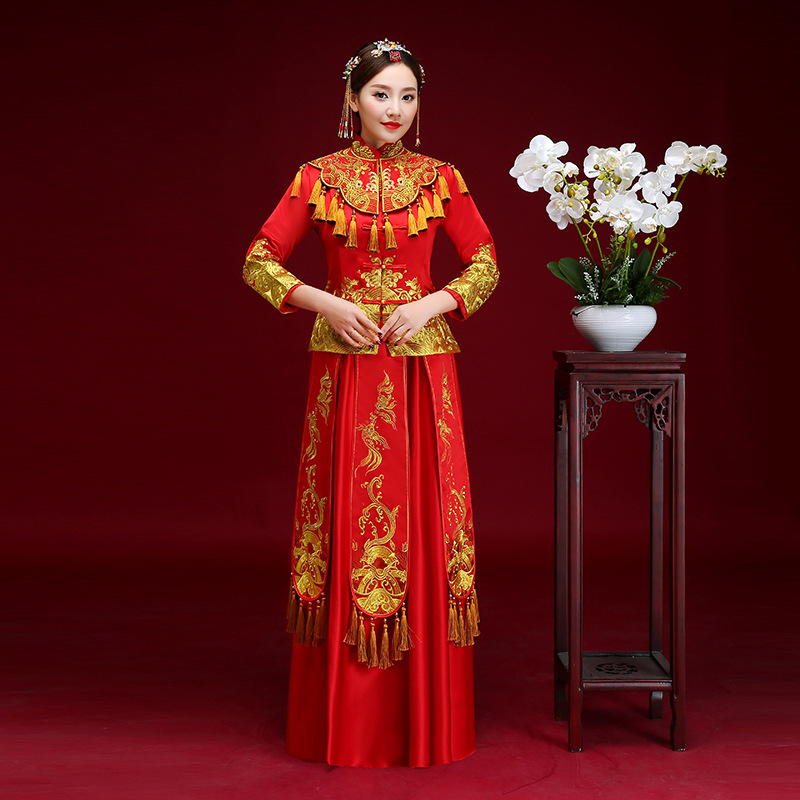 Exquisite Women Gold Tassel Cheongsam Vestidos Chinses Traditional Slim Full Length Qipao Vintage Bride Wedding Party Dress Gown