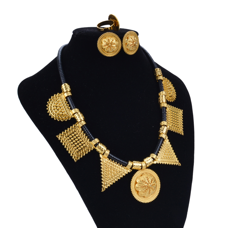 Shamty Habesha Sets Woman Pure Gold Color Leather Rope DIY Jewelry - Fashion Jewelry - Photo 2