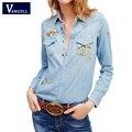 Женская джинсовые Рубашки и Блузки С Длинным Рукавом Животных Вышивка Джинсы Рубашки Топ Хлопок Дамы Рубашка Blusa Camisetas Femininas