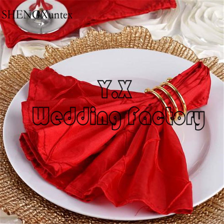 100pcs Sold Taffeta Pintuck Table Napkin For Table Cloth Decoration