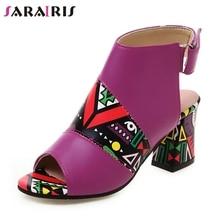 SARAIRIS Brand New INS Hot Big Size 34-43 Ladies High Heels Print Peep Toe Women Shoes Woman Casual Party Summer Sandals 2019 цены онлайн