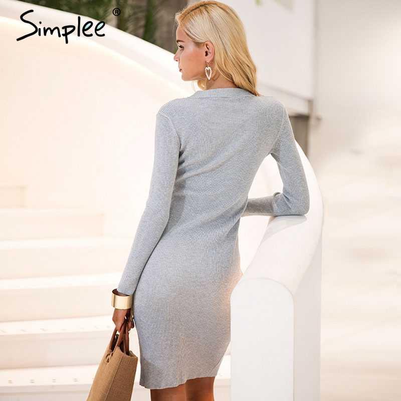 Осеннее и зимнее женское платье Simplee, с ремешком, вязаное теплое платье-свитер с V-образным вырезом, эластичное обтягивающее платье с длинным рукавом и разрезом